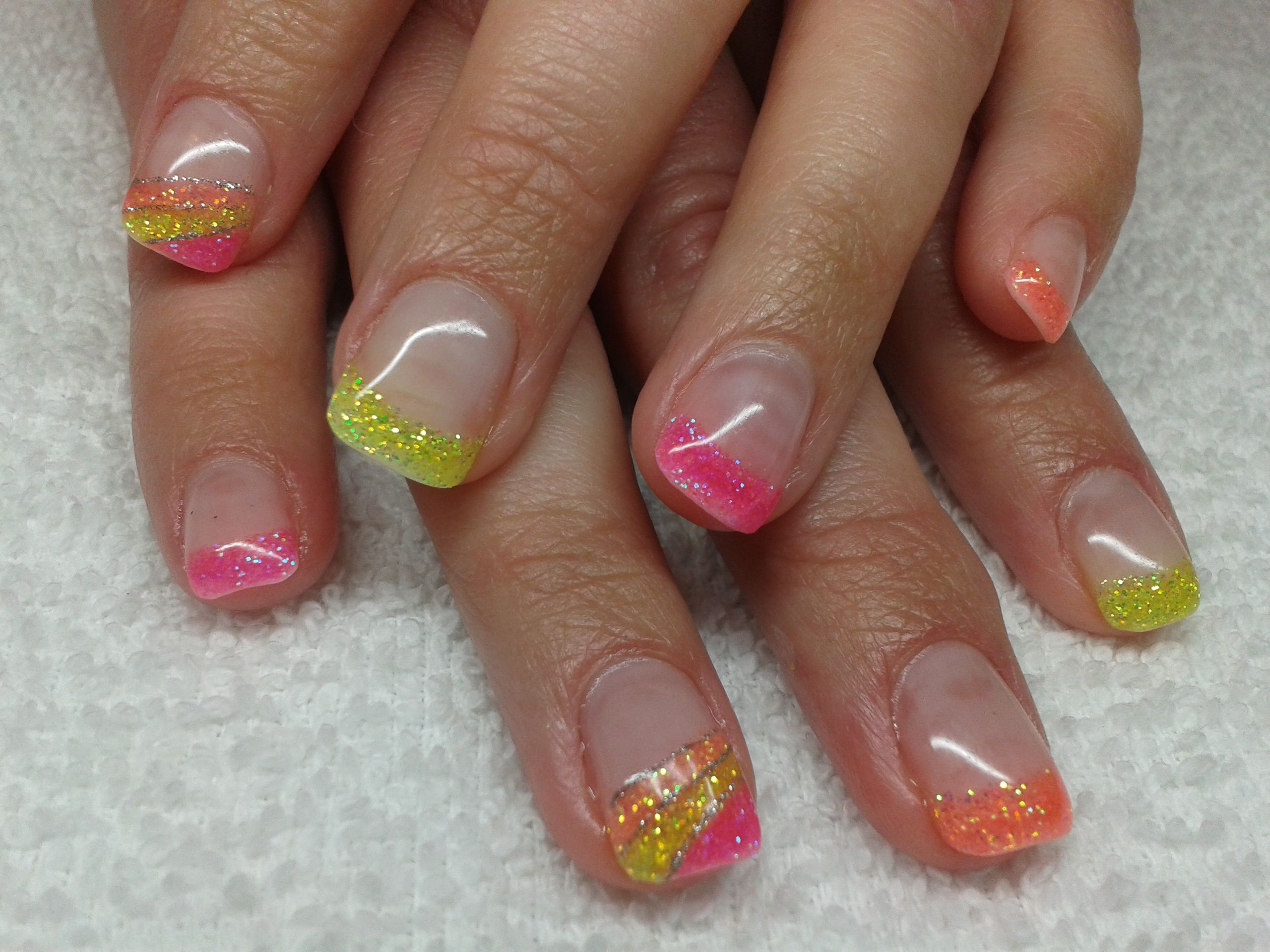 Orange pink and yellow glitter gel nails nail design ideas orange pink and yellow glitter gel nails prinsesfo Images