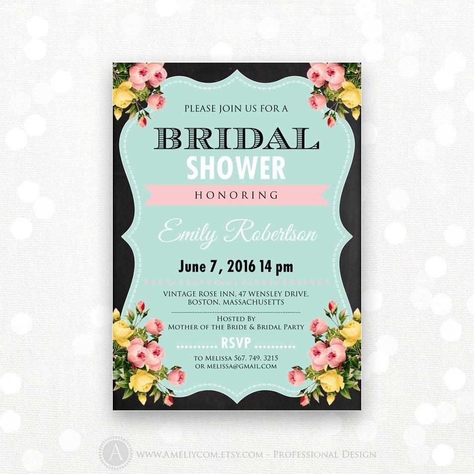 Printable Bridal Shower Invite, Bridal Tea Party Invitation, Bridal ...