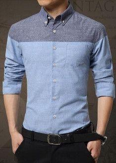 Mens Long Sleeve Casual Cotton Shirt | Casual shirts, Blue grey ...