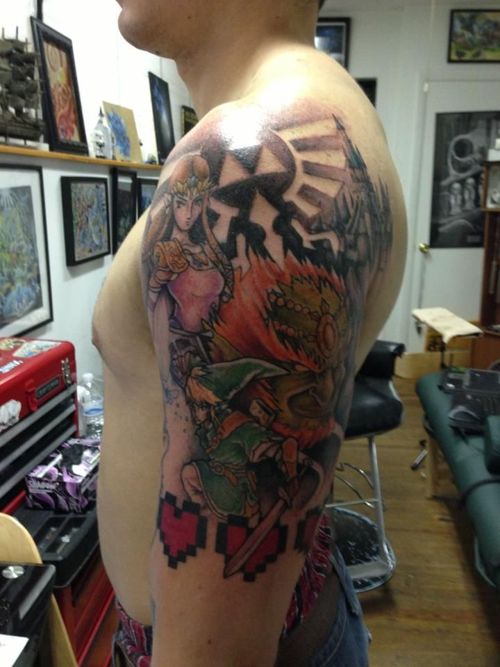 Legend Of Zelda Half Sleeve Tattoos Gaming Tattoo Gamer Tattoos