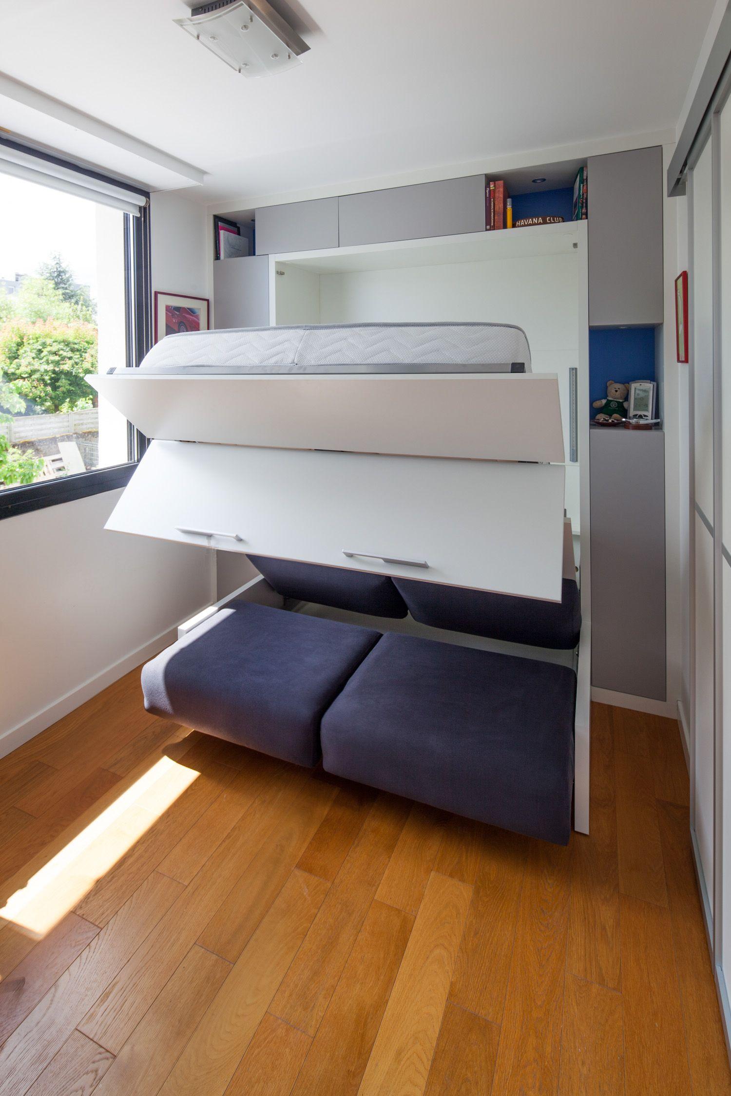 Space Saving Teens Bedroom Furniture: Lit Rabattable Sur-mesure