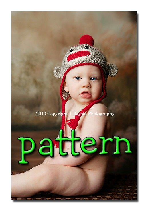 Crochet topcrochet clothingcrochet tribalcrochet haltercrochet pdf crochet pattern sock monkey hat with earflaps braids and pompom or flower dt1010fo