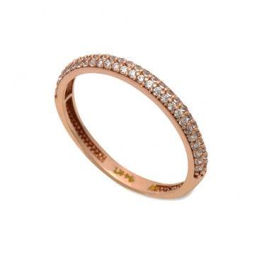 Μοντέρνο γυναικείο μισόβερο λεπτό δαχτυλίδι ροζ χρυσό Κ14 με 2 σειρές από  λευκές πέτρες ζίργκον στο d8b8d9c09d8