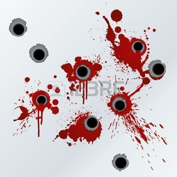 Bullet Hole Vector Illustration Of Bloody Gunshots With Blood