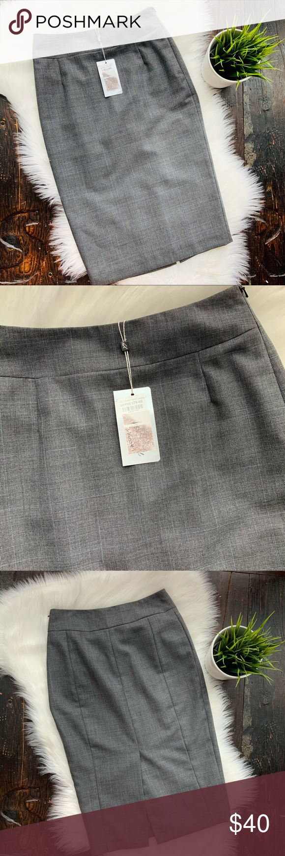 Austin Reed Gray Wool Pencil Skirt 6 New Nwt In 2020 Wool Pencil Skirt Pencil Skirt Austin Reed