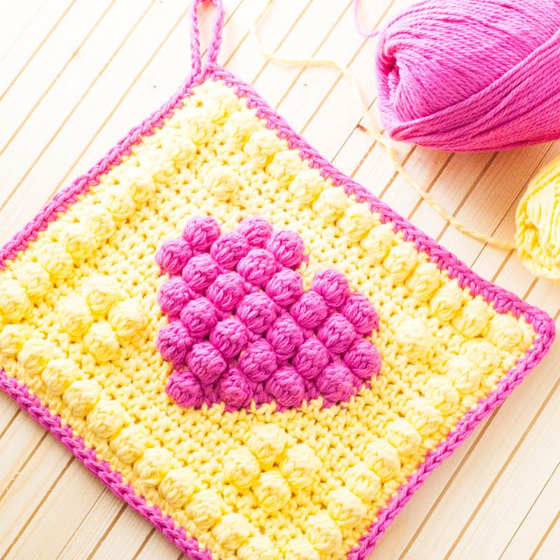 Crochet Bobble Heart Potholder | Agarraderas, Tejido y Para el hogar