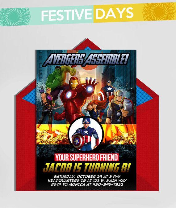 diy printable the avengers superheroes 5x7 birthday invitation
