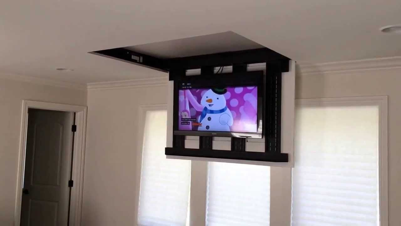 Motorized Fully Automated Flip Down Ceiling Tv Lift 46 60 120