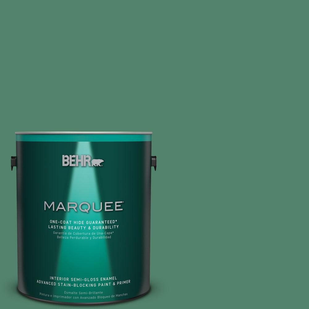 BEHR MARQUEE 1 gal. #M420-6 Tournament Field One-Coat Hide Semi-Gloss Enamel Interior Paint