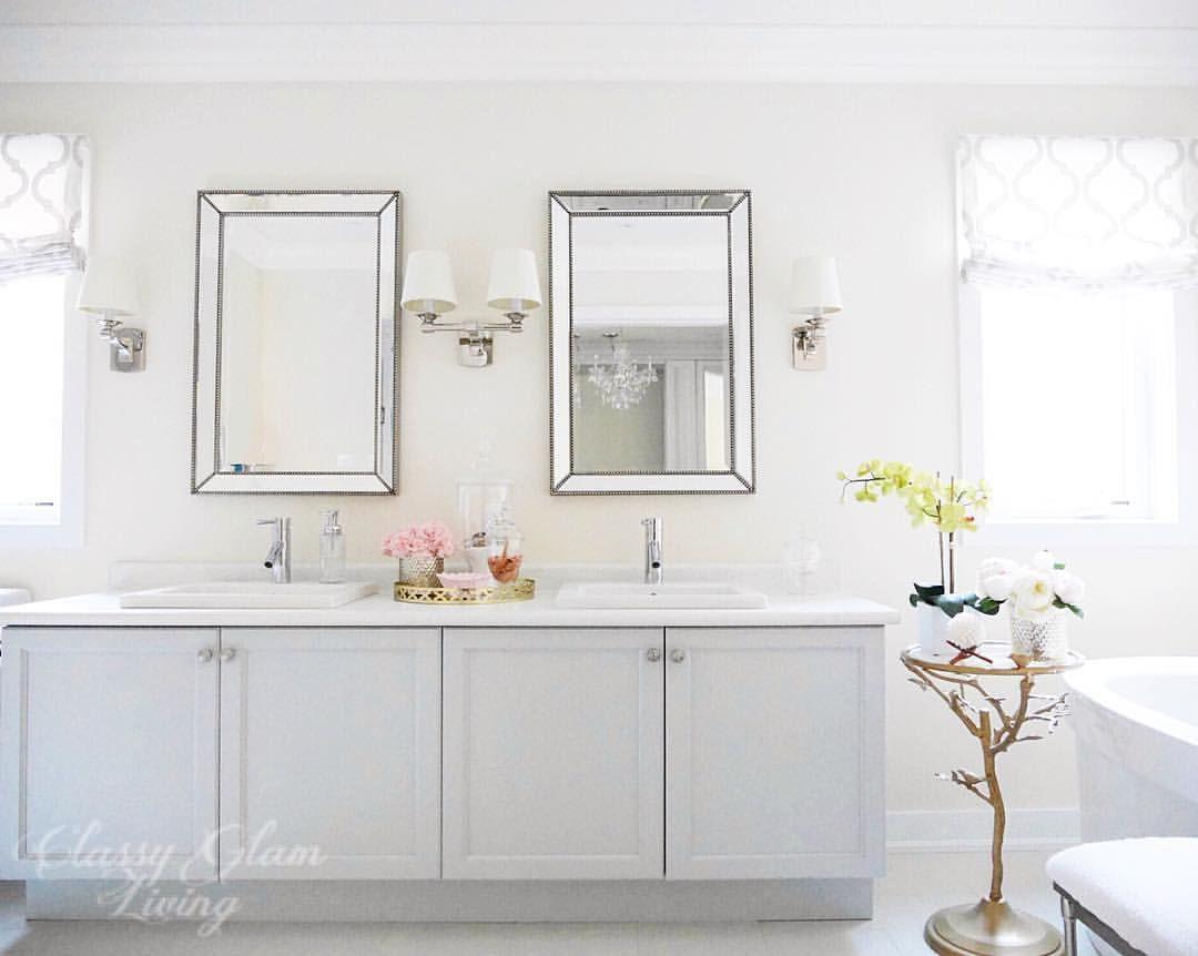 Master bedroom ensuite design  Master ensuite grey gray cabinet bathroom vanity Roman blinds