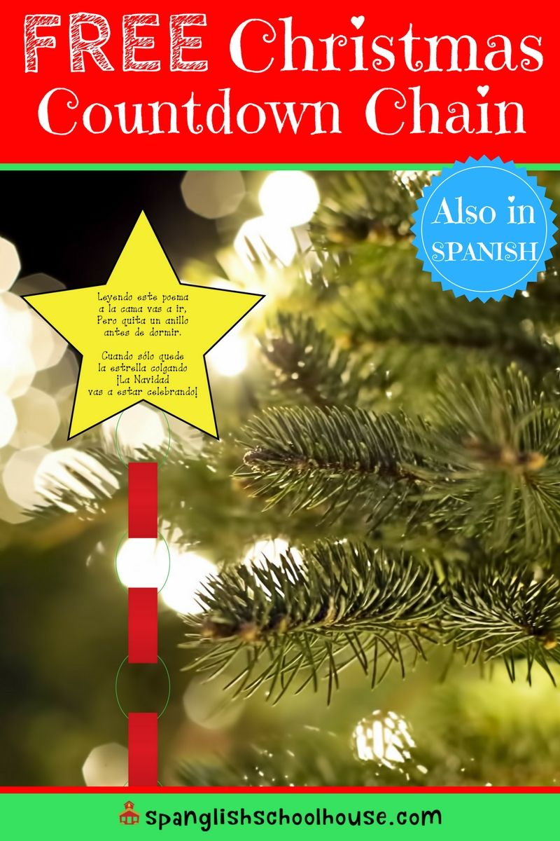 How Many Days Until Christmas Eve.Free Christmas Countdown Chain In Spanish Spanish Learning