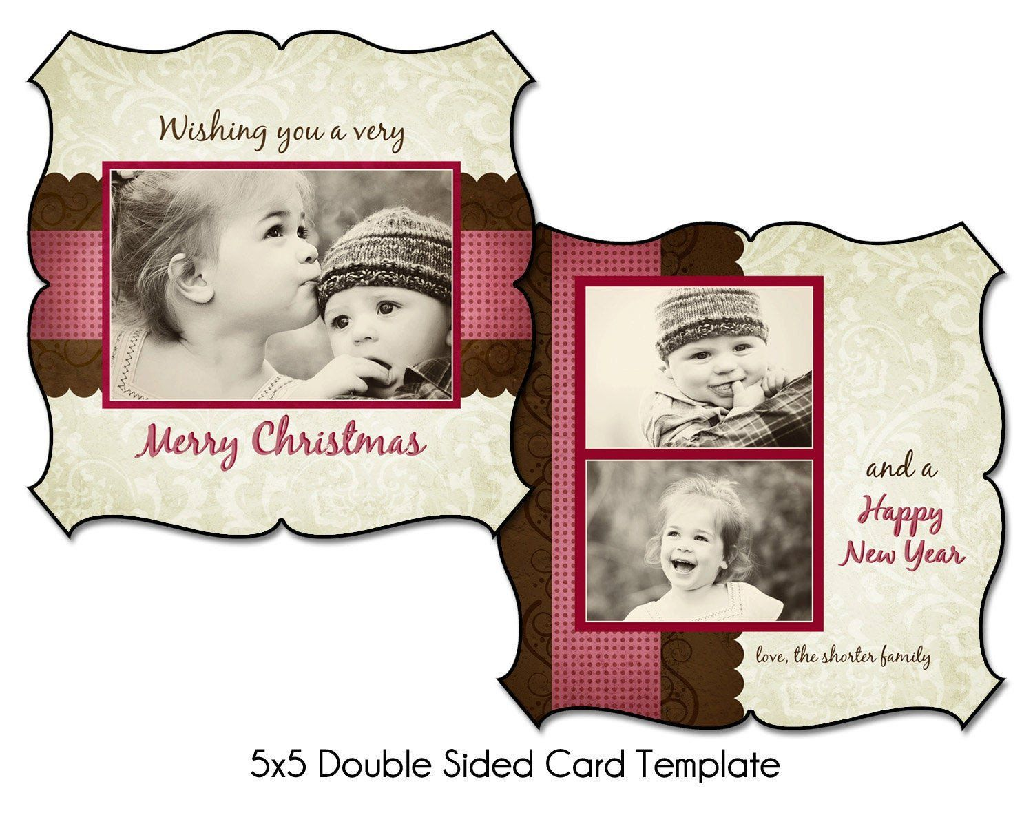 Two Sided Postcard Template Elegant Holiday Tidings 5x5 Double Sided Christmas Card Template Christmas Card Template Postcard Template Card Templates
