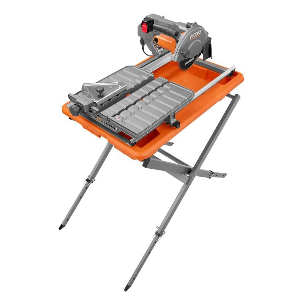 Ridgid 9 Amp Corded 7 In Wet Tile Saw With Stand R4031s The Home Depot In 2020 Tile Saw Tile Saws Aluminum Table