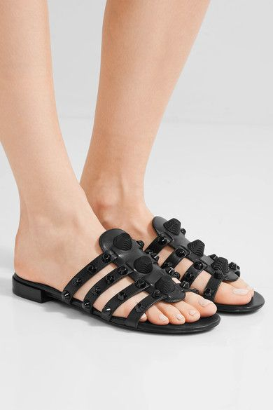 black leather sandals | Studded leather