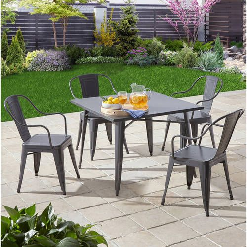 Industrial 5Pc Patio Garden Dining Furniture Set Metal Table Chair Gorgeous Clearance Dining Room Sets Design Ideas