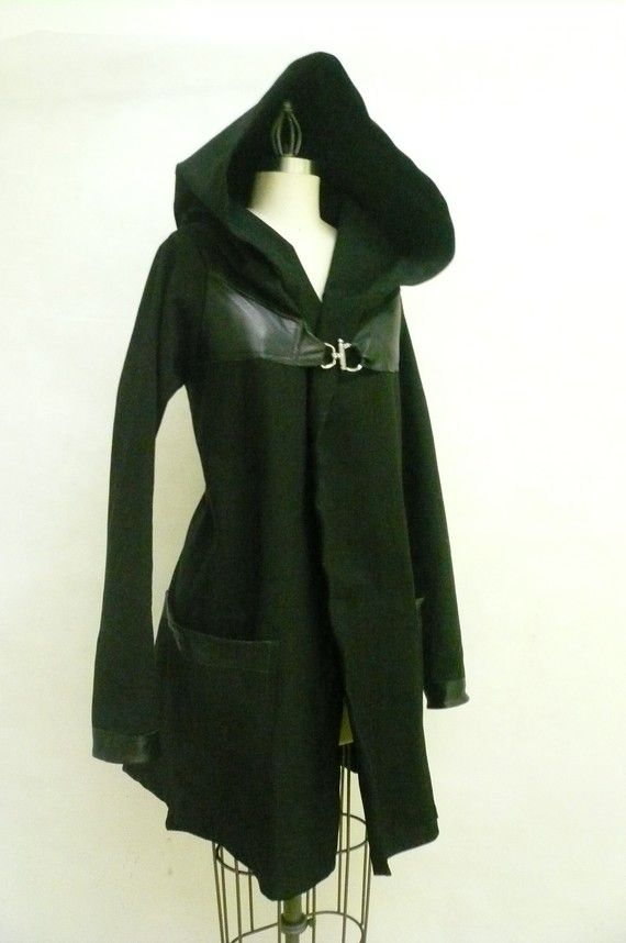 MARIA SEVERYNA Black Twill & Leather Jacket by DDreamCloset, $397.00