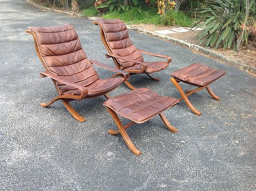 Want Danish Westnofa Pair Flex Leather Lounge Chairs Ottomans Ingmar Reiling Designer Ebay Leather Lounge Chair