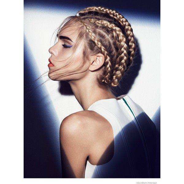 Line Brems Rocks Braided Hairstyles for Volt by Martin Petersson ❤ liked on Polyvore featuring hair, hairstyle, faces and models