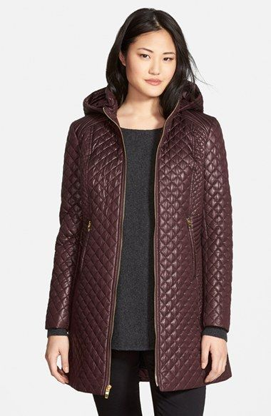 Petite Women's Via Spiga Hooded Front Zip Quilted Coat | Coats and ...