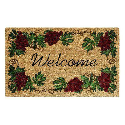 Creative Accents SuperScraper Vinyl \u0026 Coir Grape Indoor / Outdoor Welcome Door Mat - 33013