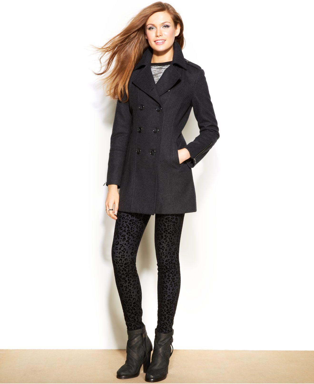 d9b56c517db Bar III Wool-Blend Double-Breasted Peacoat - Coats - Women - Macy's ...