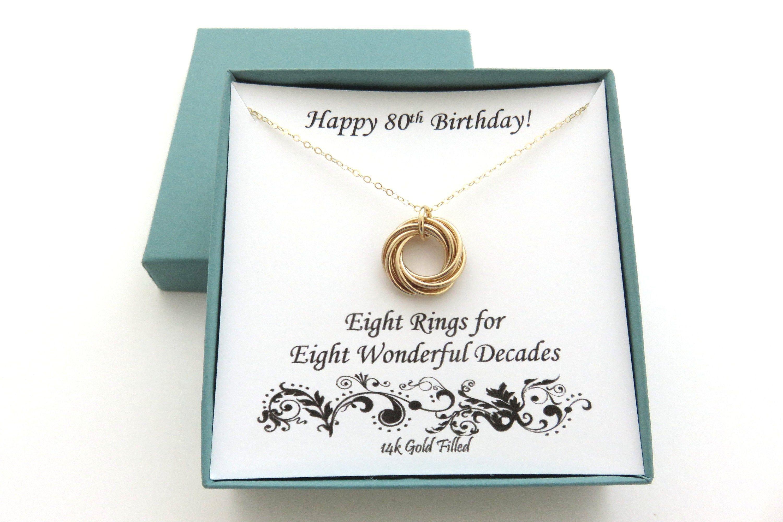 80th birthday gold necklace 80th birthday gift 8th