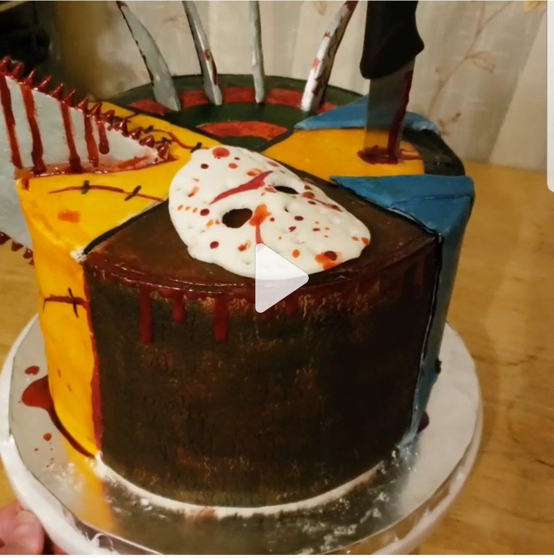 Horror cake for a birthday jason michael leatherface