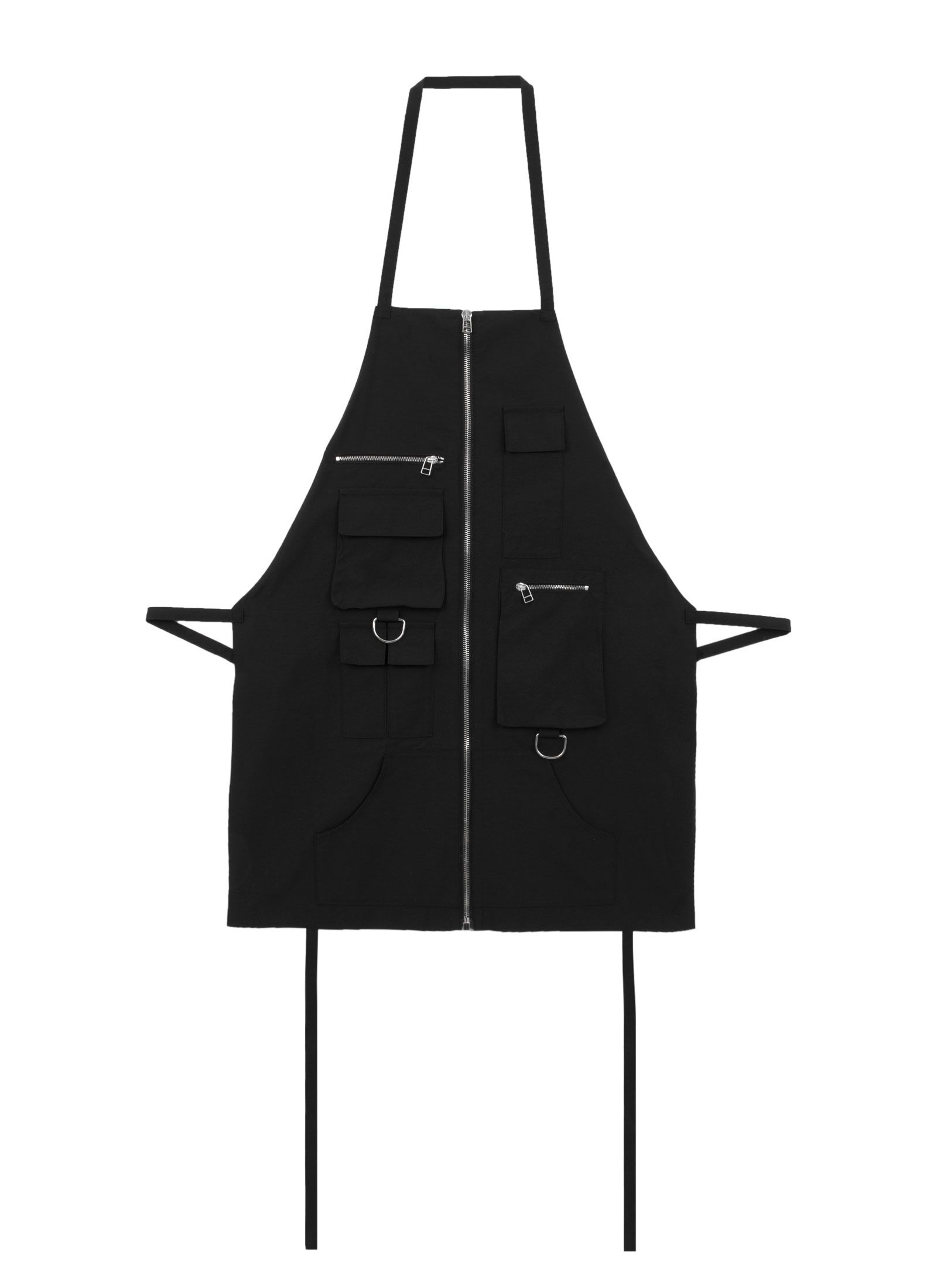 Nylon Zip Front Apron - 100% Nylon Apron with full-length vertical zip, multi-pocket design, and dual D-Ring detailing. Hood By Air. HBA