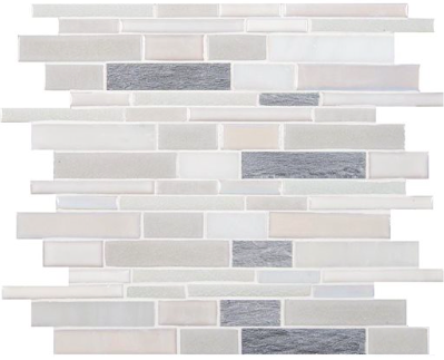Carrara Carrera Venato And Porcelain Blend Linear Mosaic Tile