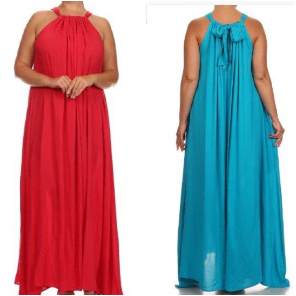 New Plus Size Blue Halter Peep Hole Back Maxi Dress With Side Pockets 3X