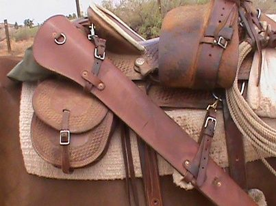 western saddle rifle scabbard and horn pistol holster ...