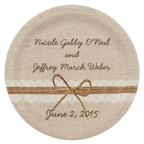 Rustic Burlap Twine Country Wedding Paper Plate | Wedding paper ...