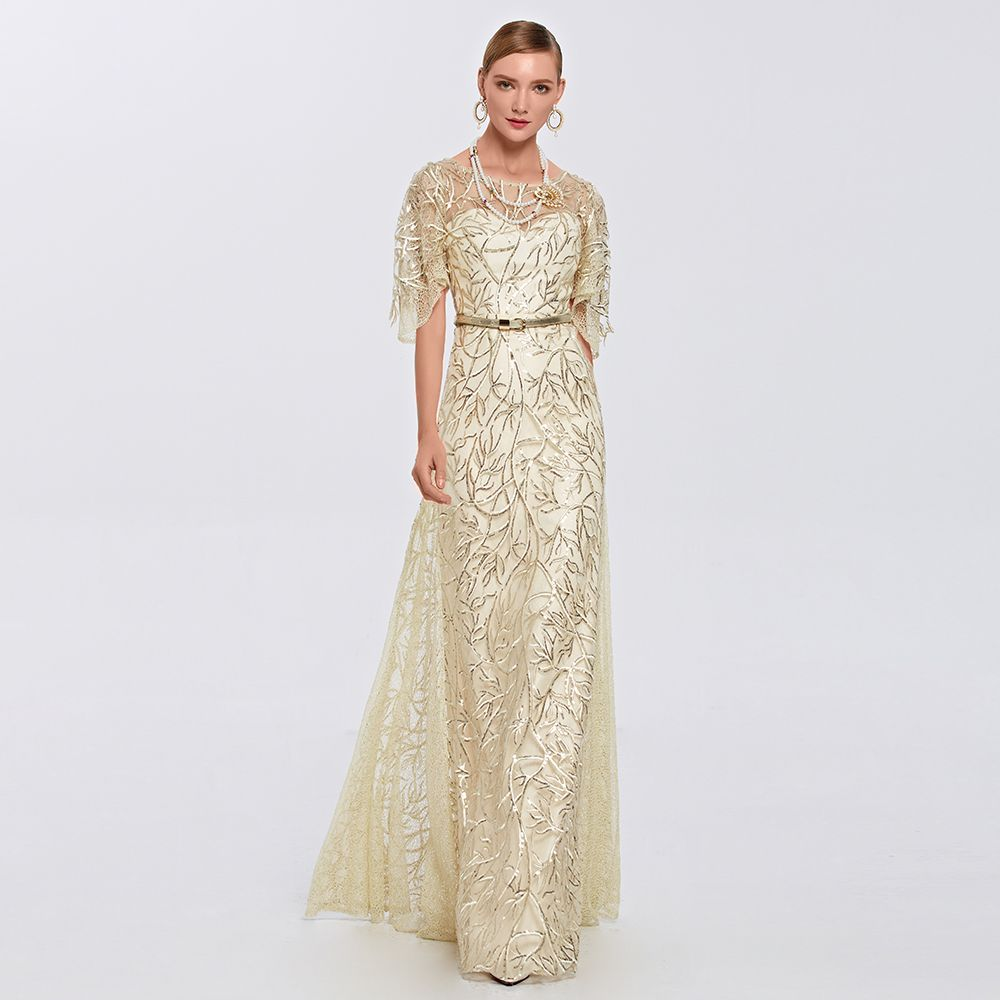 Coniefox scoop half sleeves embroidery beige long sequins prom