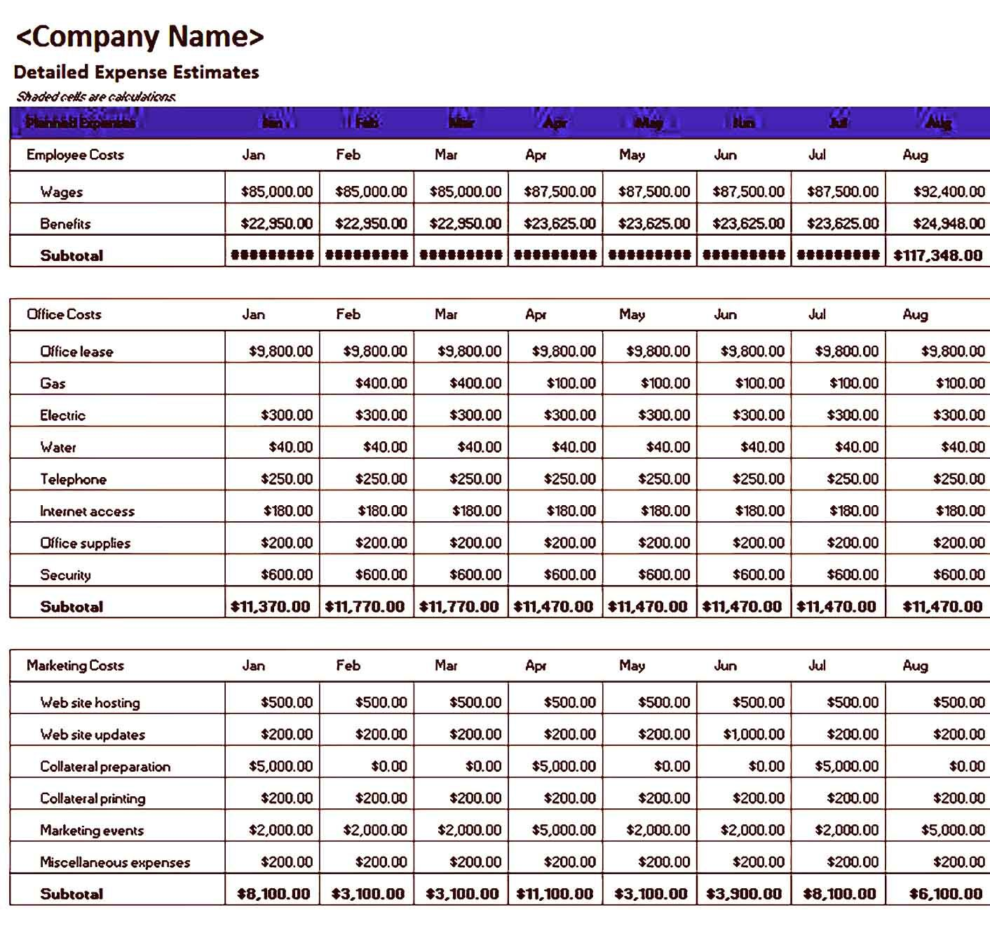 Sample Excel Business Budget Template