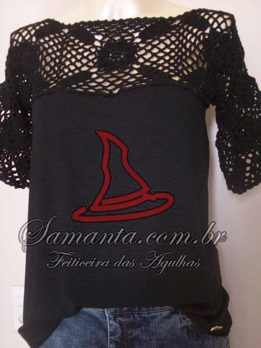 Esta blusa é minha! Foi feita com mangas e pala em crochê rendado e o corpo em malha. As rendas estão em alta, fiz inspirada na foto abaixo...