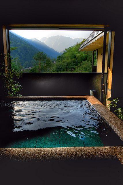 A hot spring bath with a view. In Minakami area, Gunma prefecture