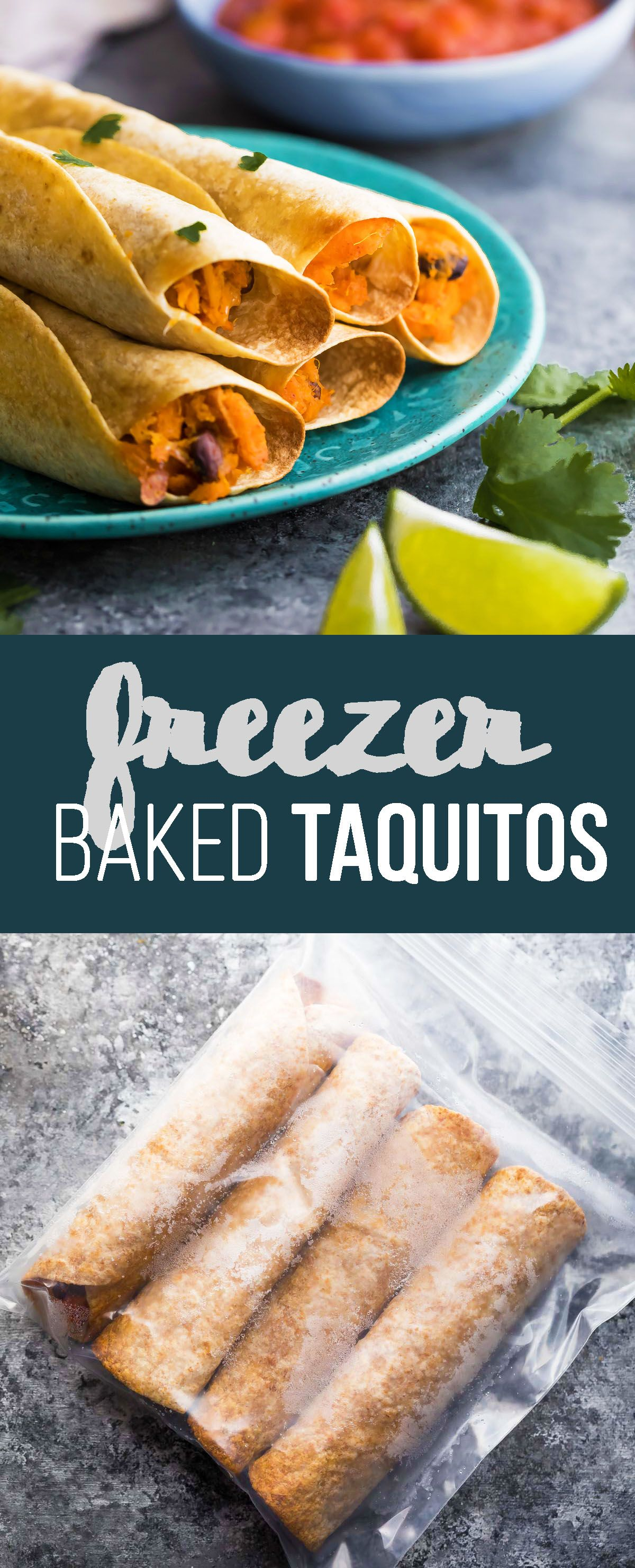 These freezer baked sweet potato black bean taquitos make a great work lunch or snack.  Easy to meal prep and make ahead for a grab and go snack!
