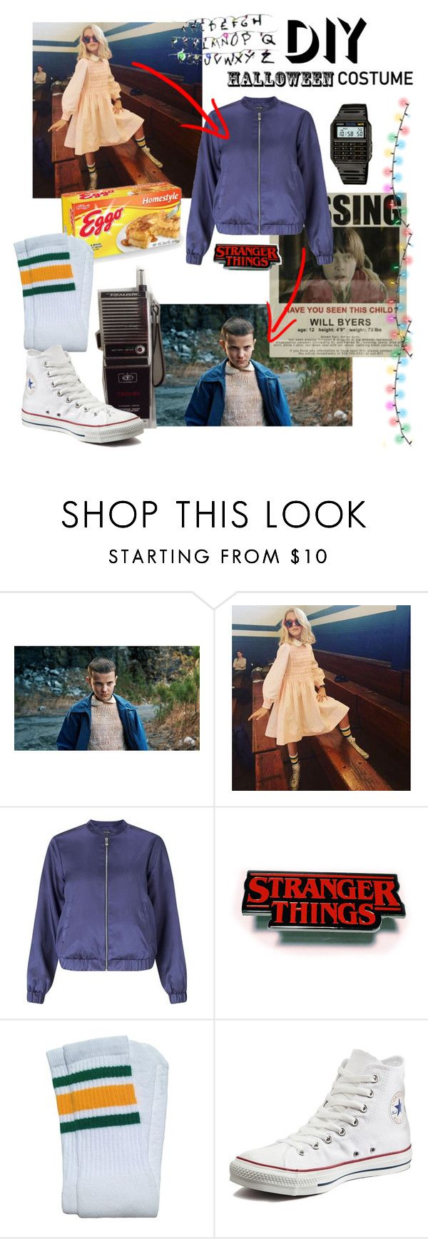 """""""The upside down"""" by bia-melo ❤ liked on Polyvore featuring Miss Selfridge, Converse, Casio, halloweencostume and DIYHalloween"""