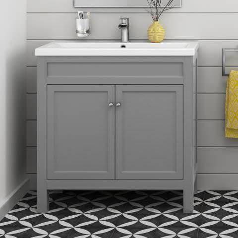 Traditional Bathroom Furniture Storage Vanity Unit Sink Basin Grey 600 Mm In Home Diy Bath Sinks