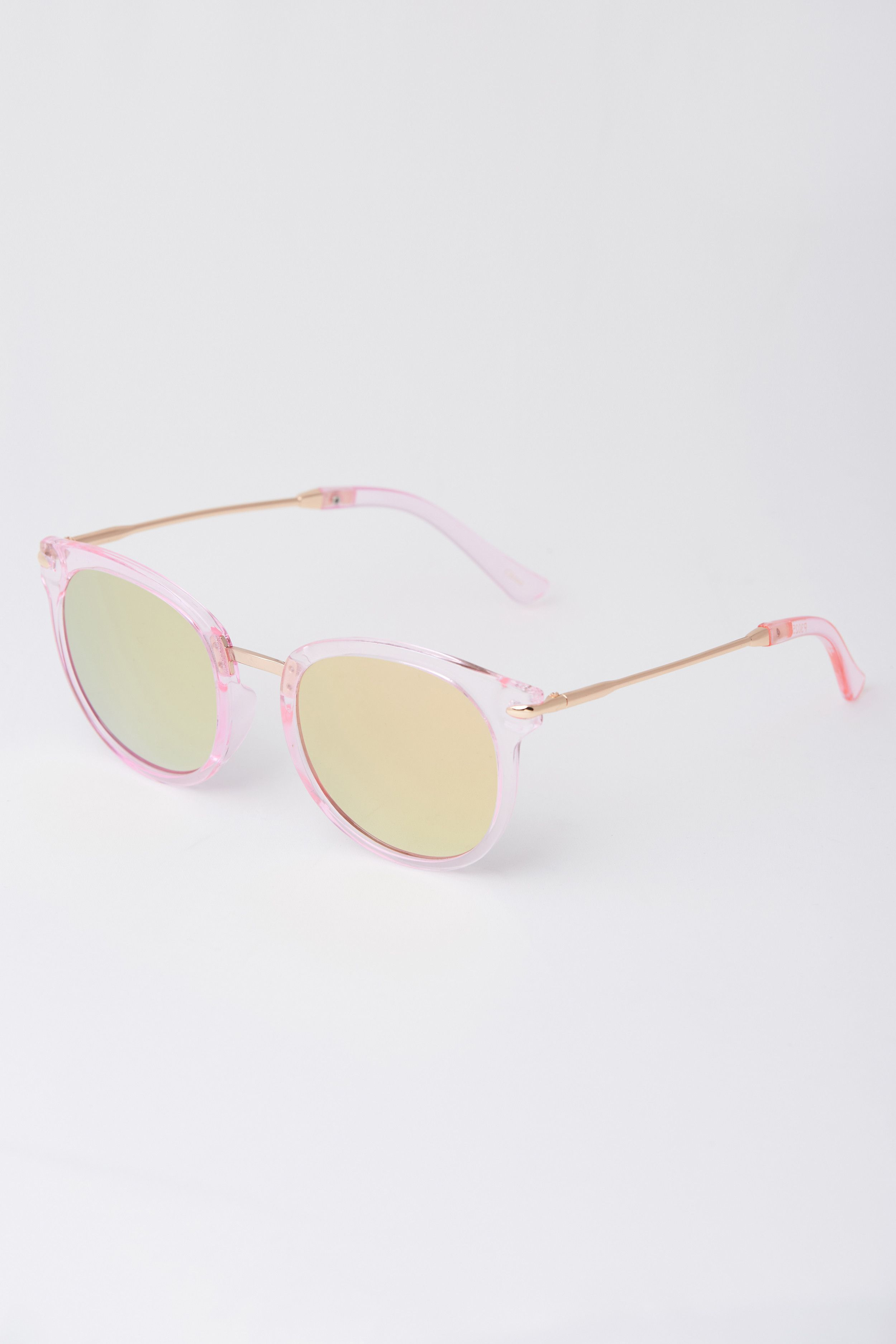 Mirrored Pink Clear Sunglasses