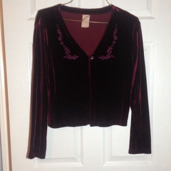 Vintage velvet cardigan Maroon velvet cardigan with one button clasp. In mint condition. No tears, bald spots, or holes. Even the detailing is intact. Was a two piece set in a former life made in the U.S.A. Size large. Tops