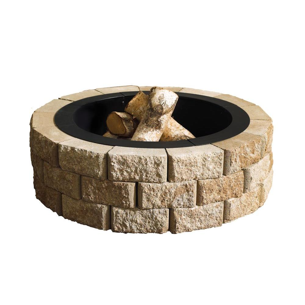 Fire Pit Kits Hardscapes The Home Depot In 2020 Stone Fire Pit Kit Fire Pit Kit Round Fire Pit