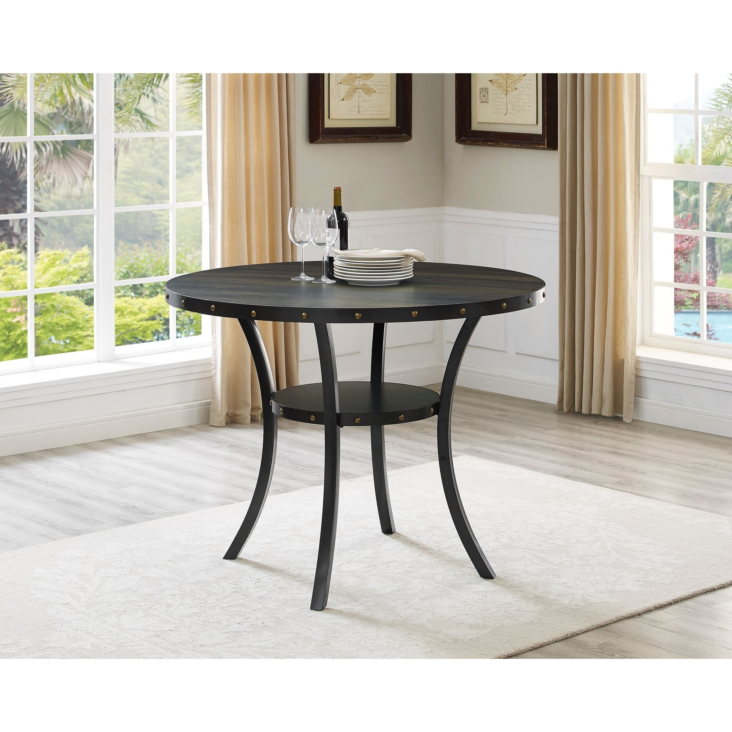Biony dining collection espresso wood counter height nailhead dining