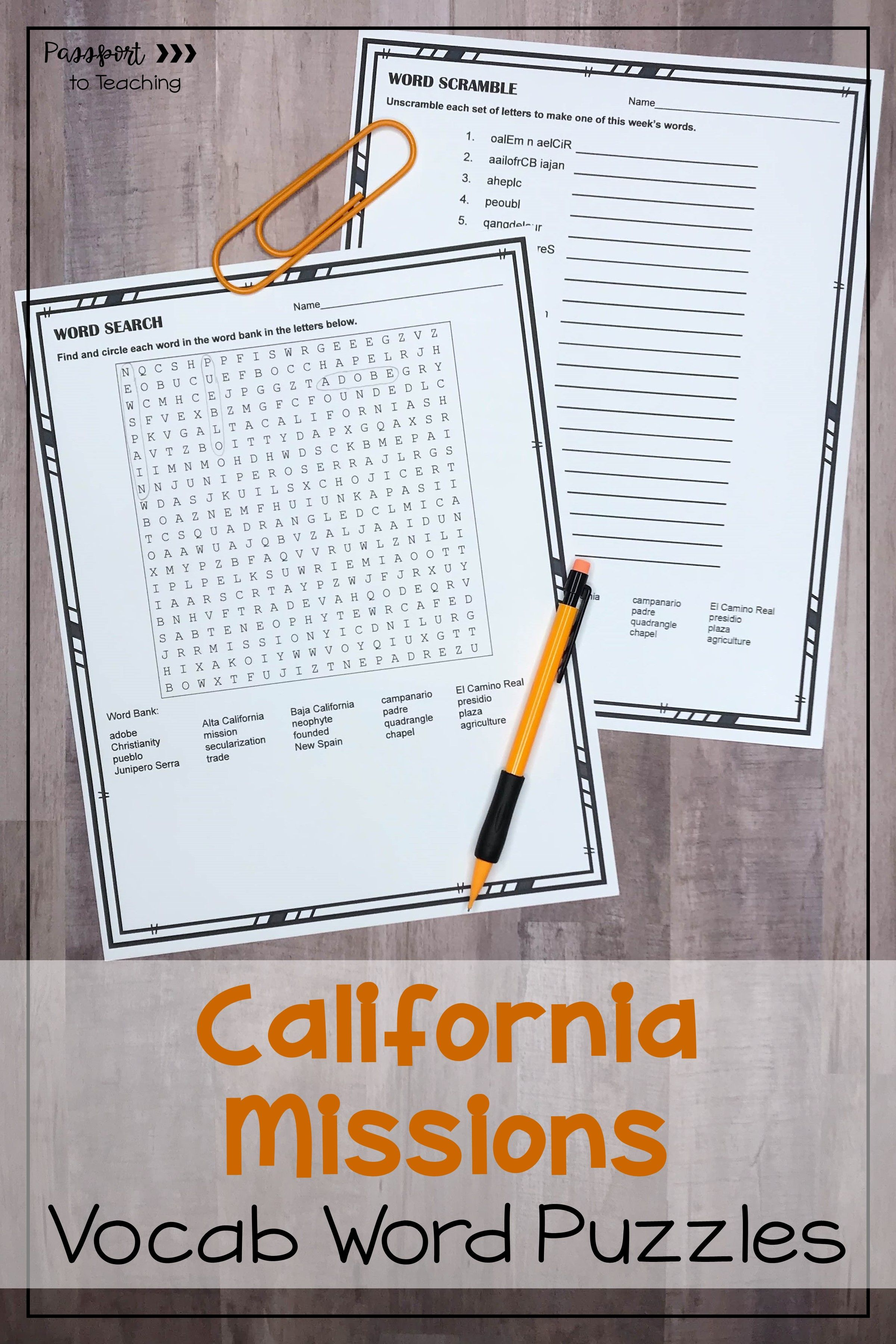 California Missions Vocabulary Word Puzzles In 2020
