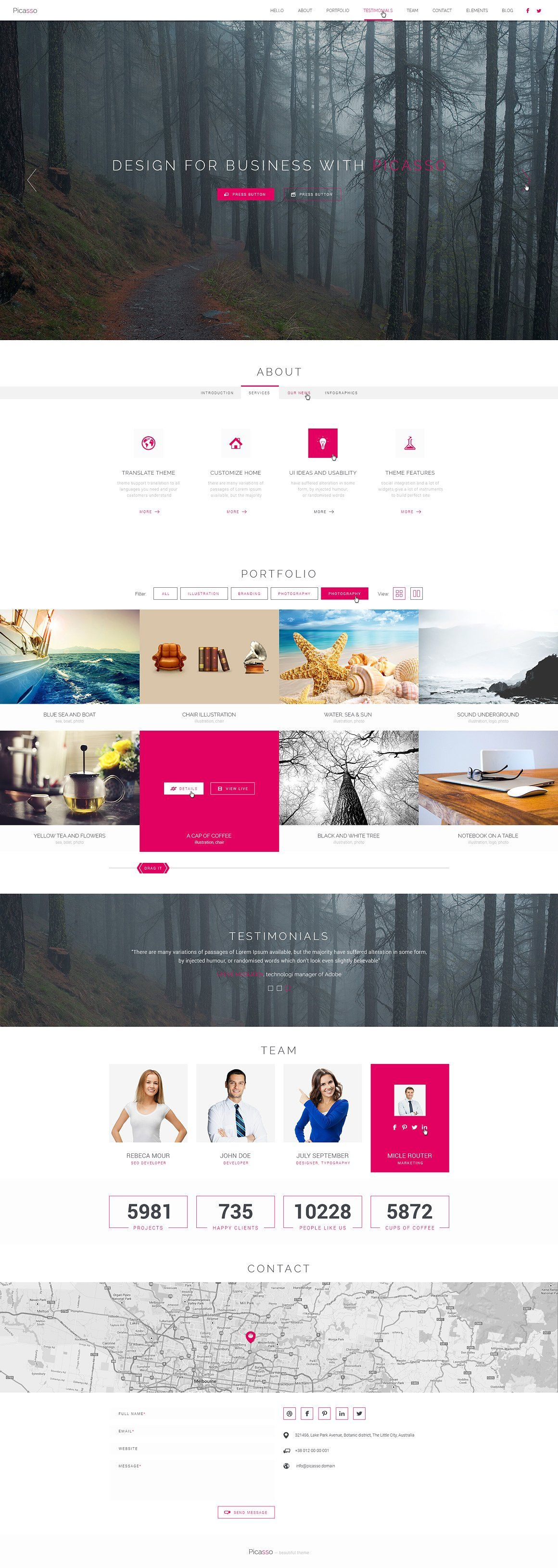 Picasso Html Css Theme Html Css Html5 Templates Photoshop Website