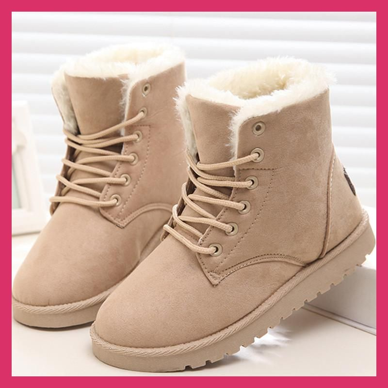 575e3d7af1 Classic Women Winter Boots Suede Ankle Snow Boots Female Warm Fur Plush  Insole High Quality Botas Mujer Lace-Up