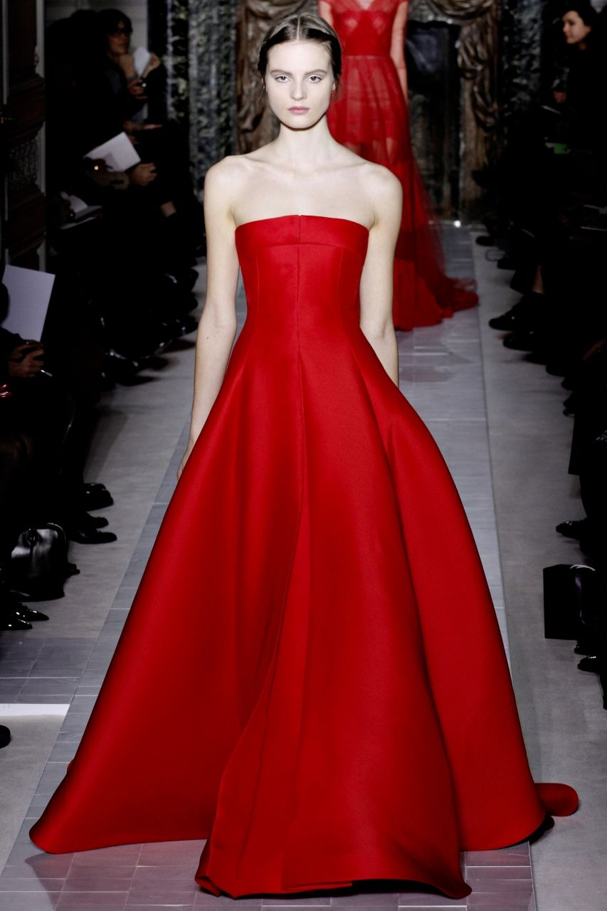 red no strap dress