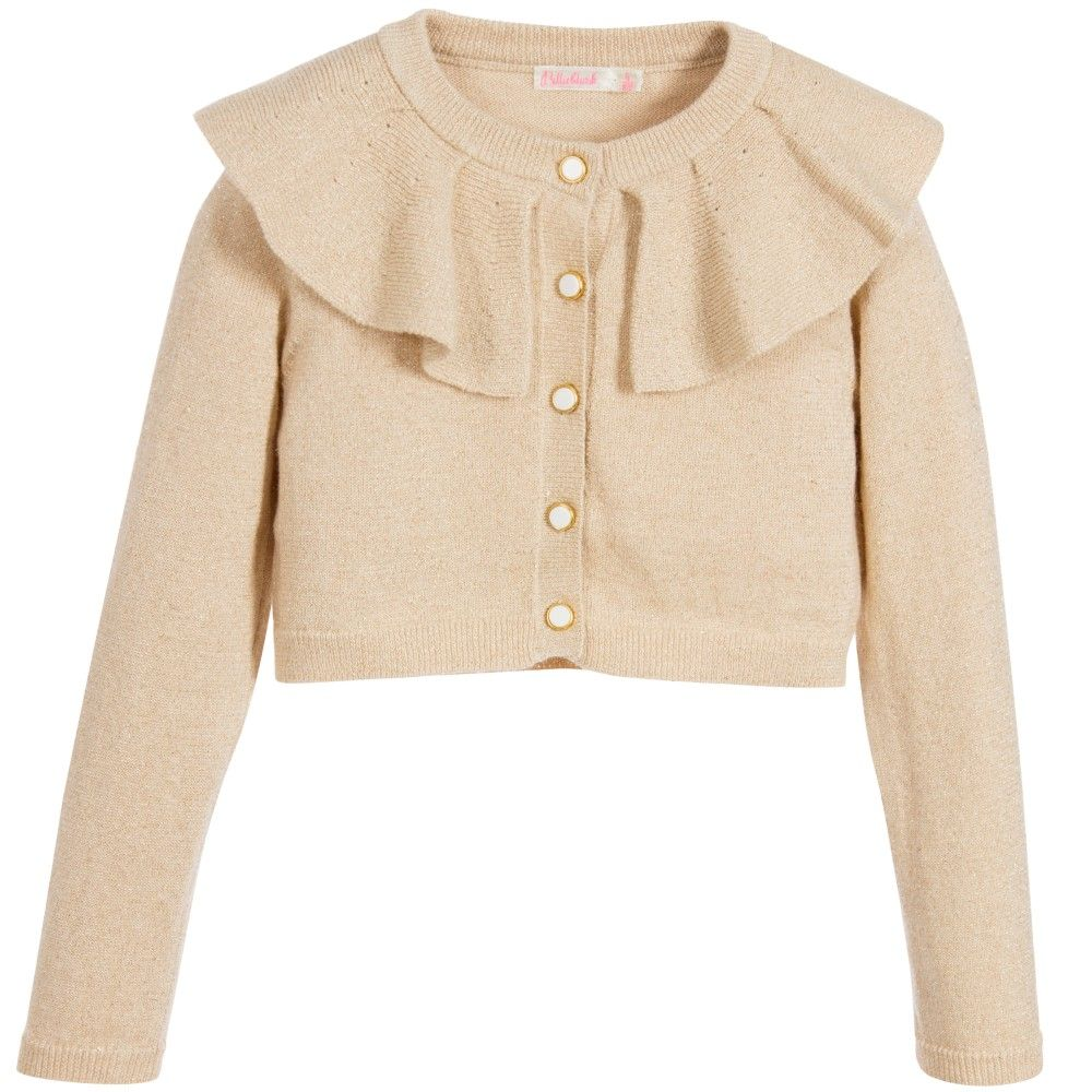 BILLIEBLUSH Gold Cardigan With Wide Collar | Billieblush Girls ...