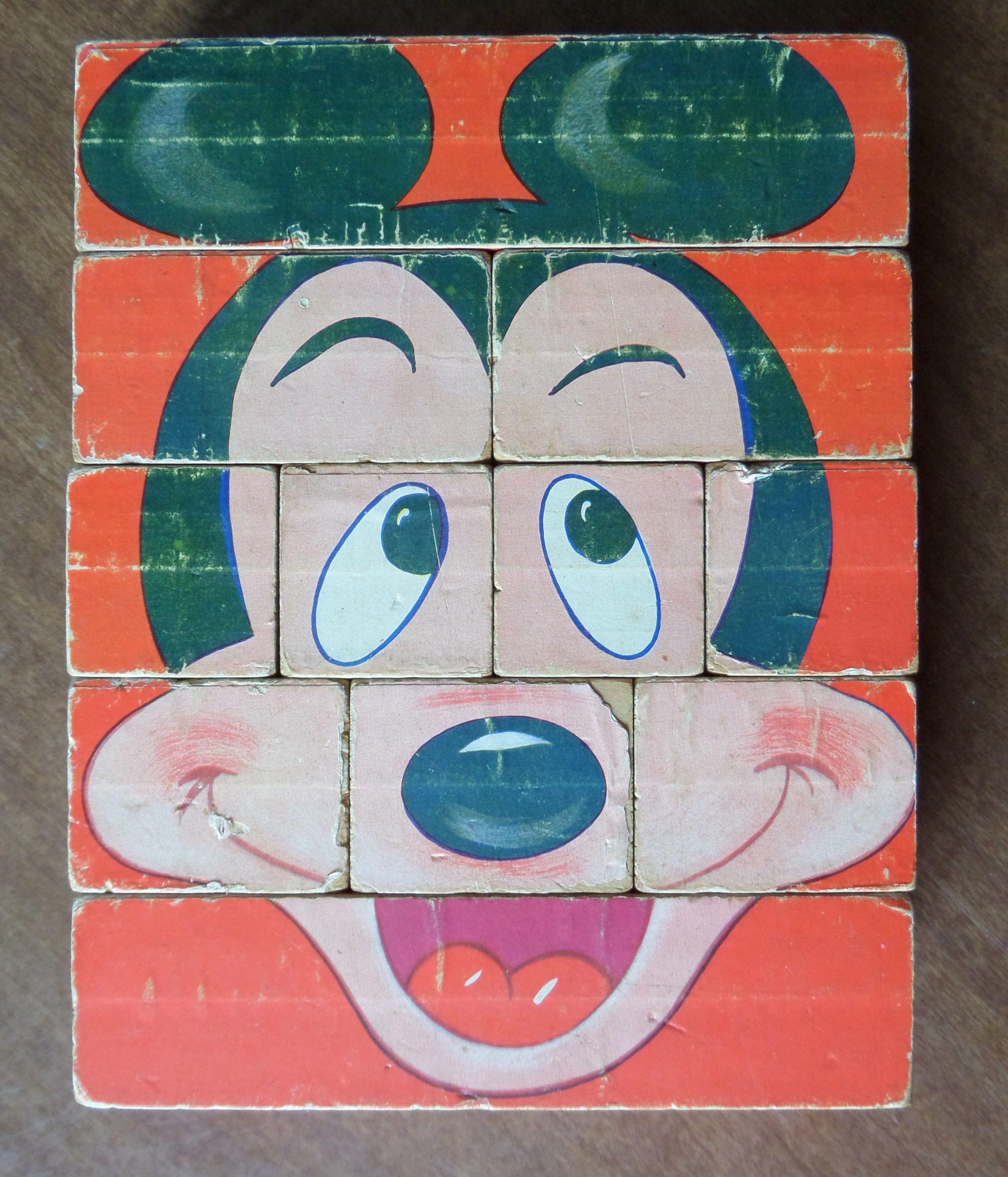 Disney Block Puzzle Scramble 4 Famous Faces Vintage Etsy Disney Character Toys Disney Vintage Disney