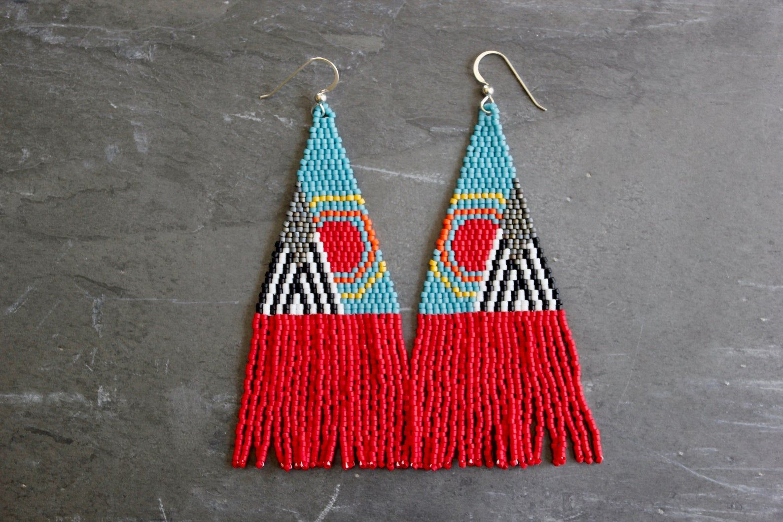 The Kings Mountain. Handwoven Earrings. Seed Bead Earrings. Fringe Earrings.